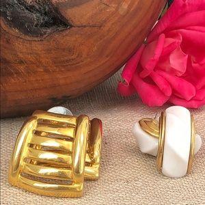 Vintage 80's Gold Pierced Earrings